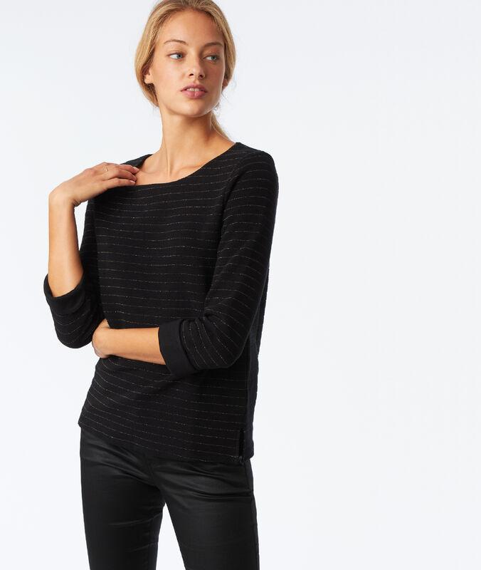 Camiseta manga larga fibras metalizadas negro.
