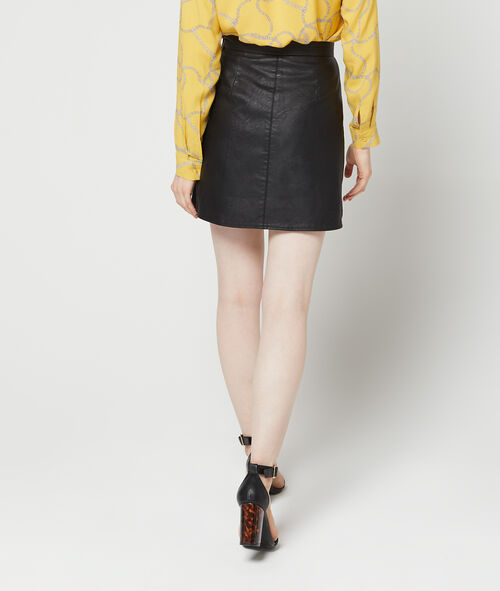 Falda recta efecto cuero