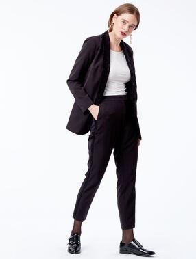 Pantalon cigarette à bandes latérales dentelle noir.