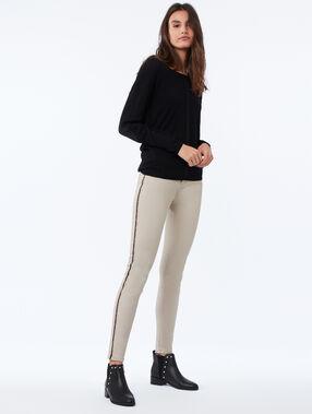 Pantalón pitillo 7/8 con franjas laterales c.beige.