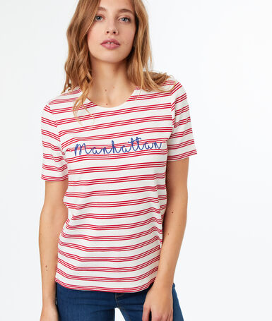 Camiseta estampado manhattan rojo.