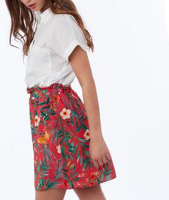 Falda estampado floral coral.