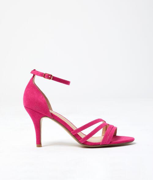 Sandalias cruzadas con tacón efecto ante