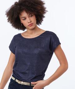 Camiseta lino cuello redondo azul marino.
