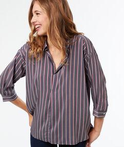 Camisa estampada a rayas c.gris.