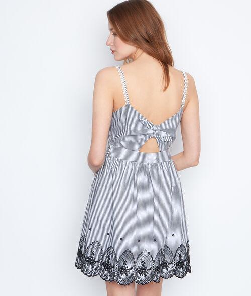 Vestido estampado a rayas lazo espalda