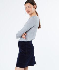Jupe trapèze en coton bleu marine.