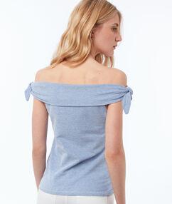 Top à épaules dénudées bleu marine.