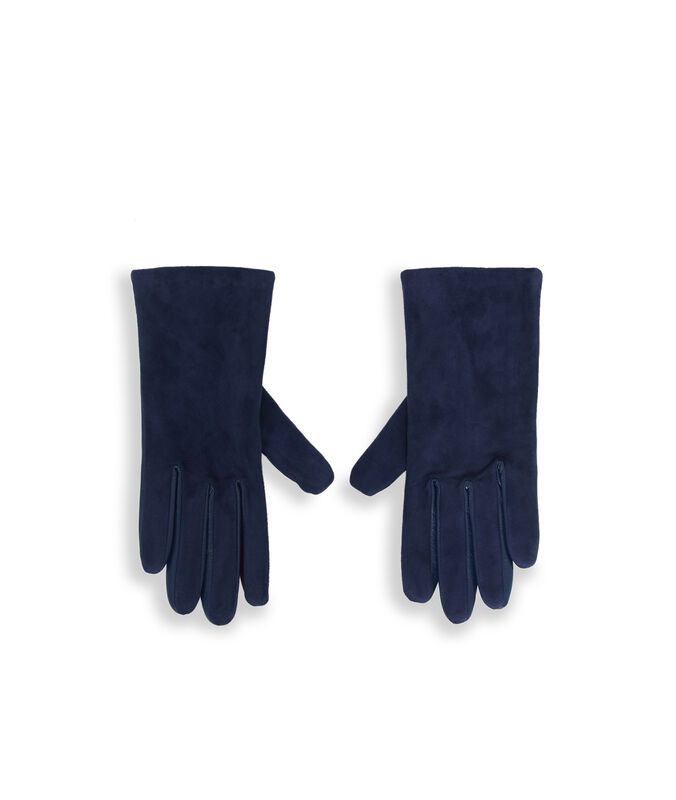 Guantes de piel dos texturas azul marino.
