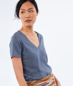 T-shirt col v en coton gris ardoise.