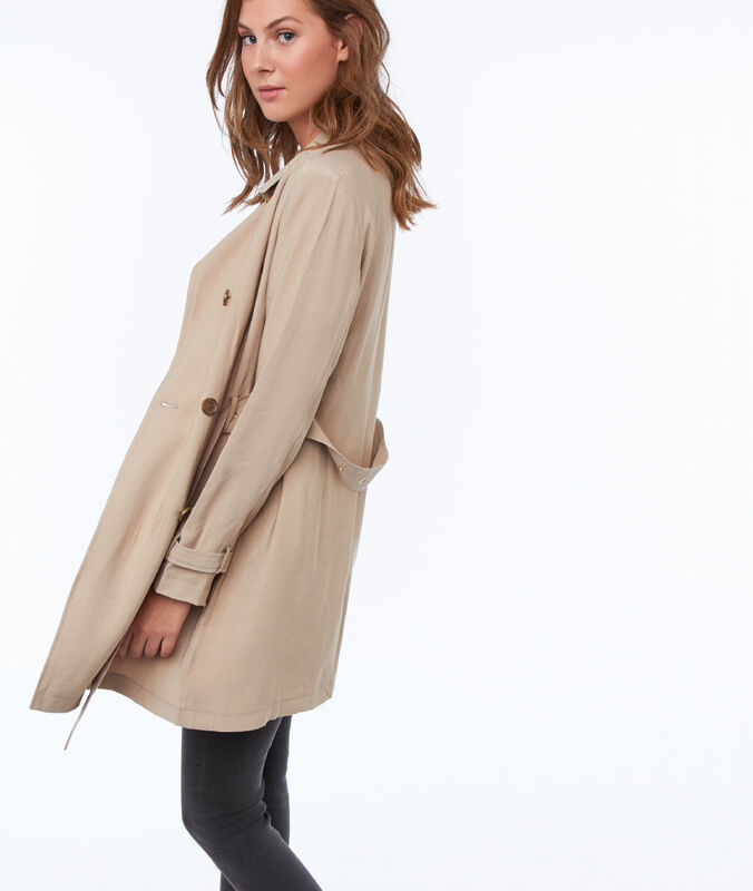 Trench 3/4 liso c.beige.