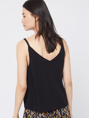 Camiseta de tirantes vaporosa abotonada negro.