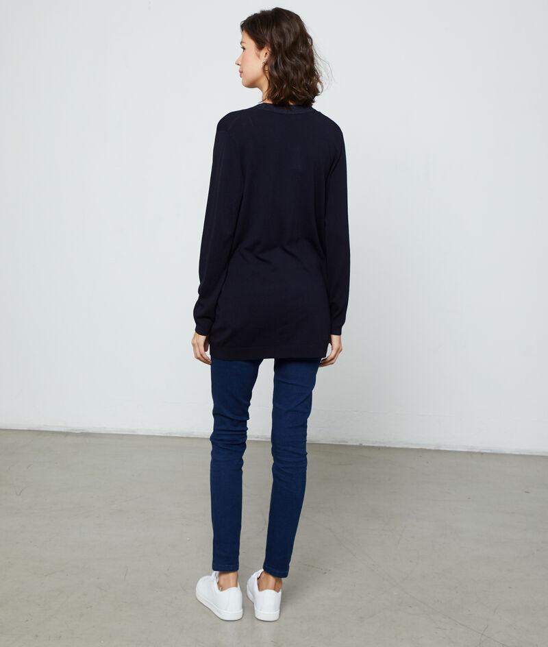 Suéter largo de punto fino