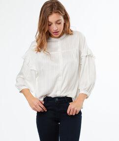 Chemise à volants écru.