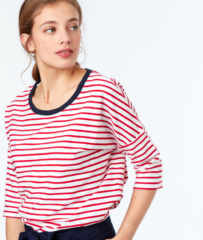 Jersey manga 3/4 rayas marineras rojo.