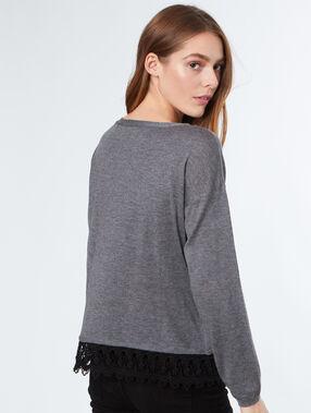 Jersey fino motivos de encaje c.gris.