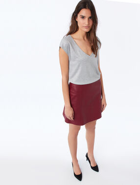 Camiseta escote en v fibras metalizadas c.gris jaspeado.