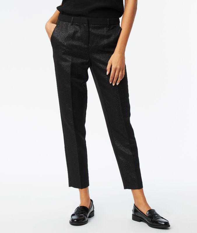 Pantalon effet métallisé noir.