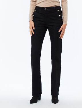 Pantalón recto botones laterales negro.