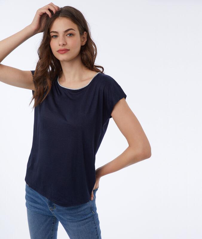 Camiseta tiras metalizadas azul marino.