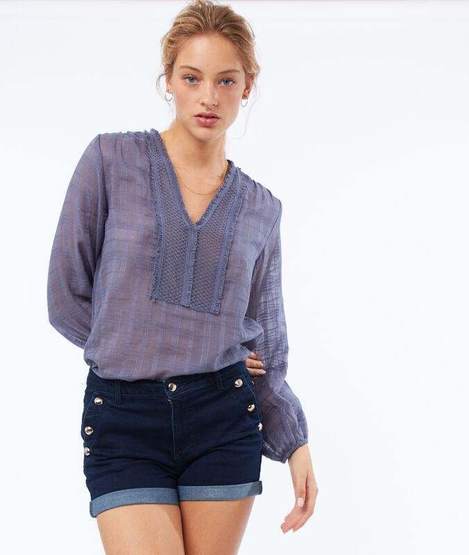 Pantalón corto botones laterales azul.