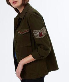 veste militaire patchs perlés en coton kaki.