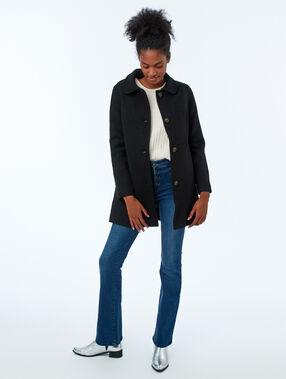 Abrigo 3/4 lana mezclada negro.
