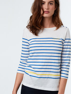 Camiseta estampado a rayas estilo marinero azul.