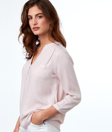 Blusa lisa manga 3/4 rosa pálido.