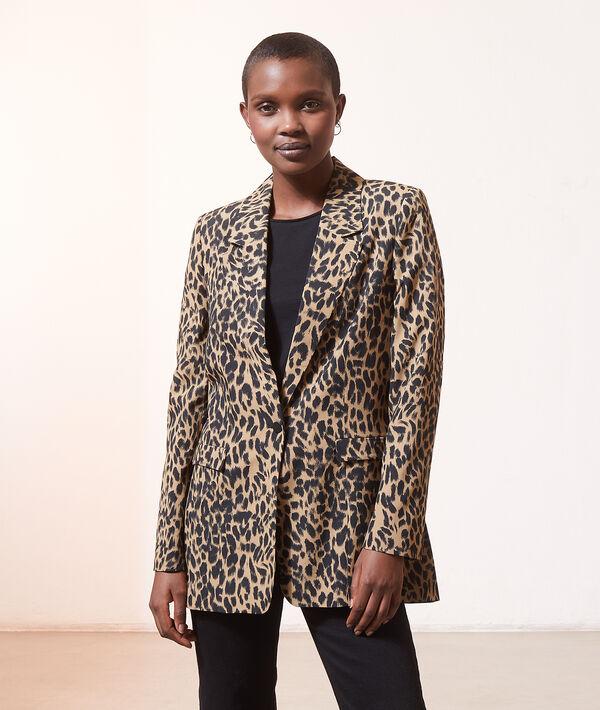 Americana entallada estampado leopardo