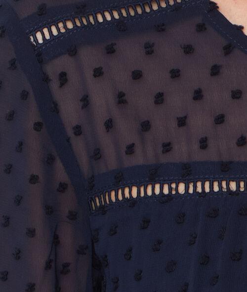 Vestido manga 3/4 tul plumetis