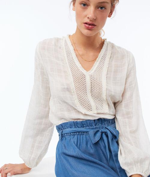 Blusa de algodón cuello tunecino