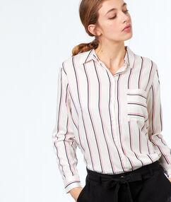 Blusa estampada a rayas crudo.