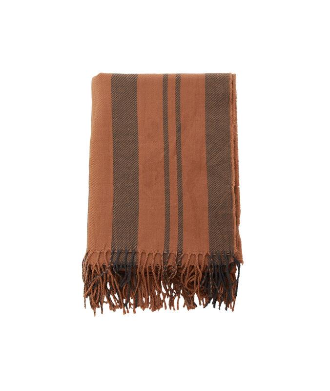 Bufanda con estampado de rayas marrón.