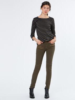 Pantalon poches zippées kaki.
