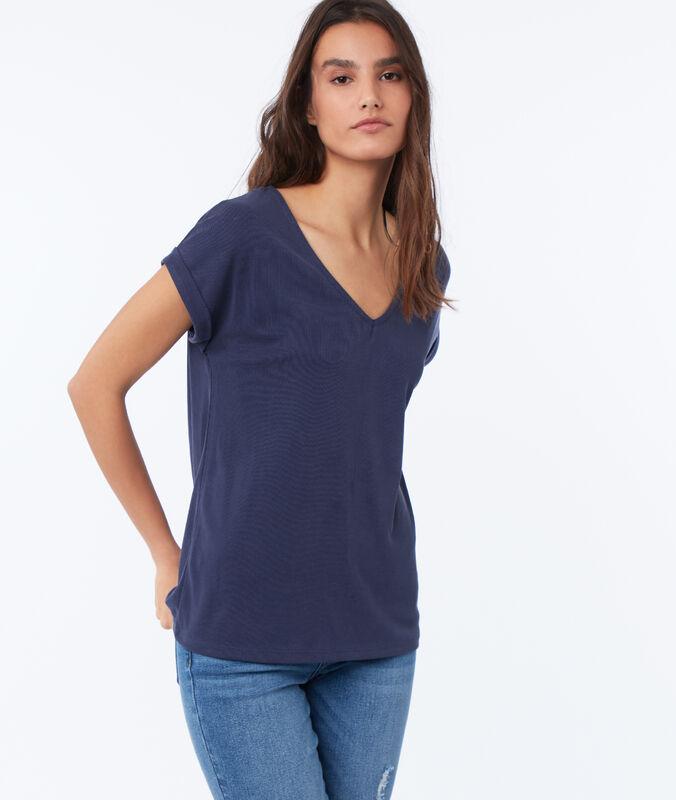 Camiseta escote en v suave relieve azul marino.
