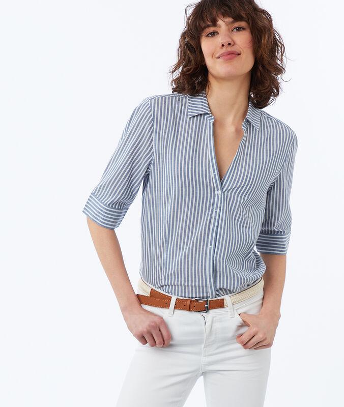 Camisa algodón estampado de rayas  azul marino.