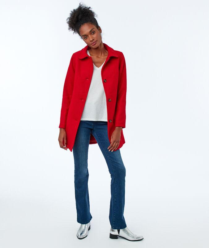 Manteau trois-quarts uni coquelicot.