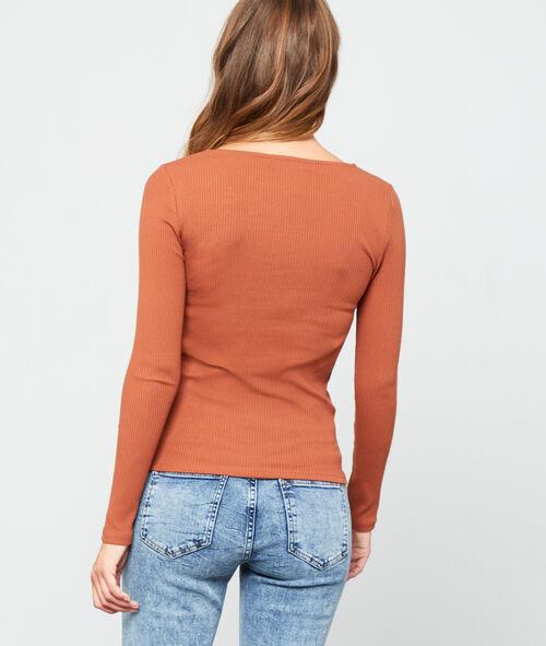 Camiseta acanalada cuello en V