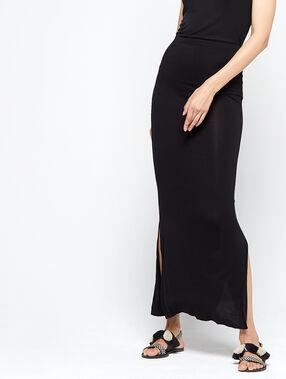 Falda lápiz larga negro.