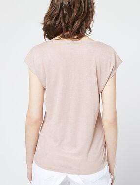 Camiseta metalizada con cuello en v c.beige.