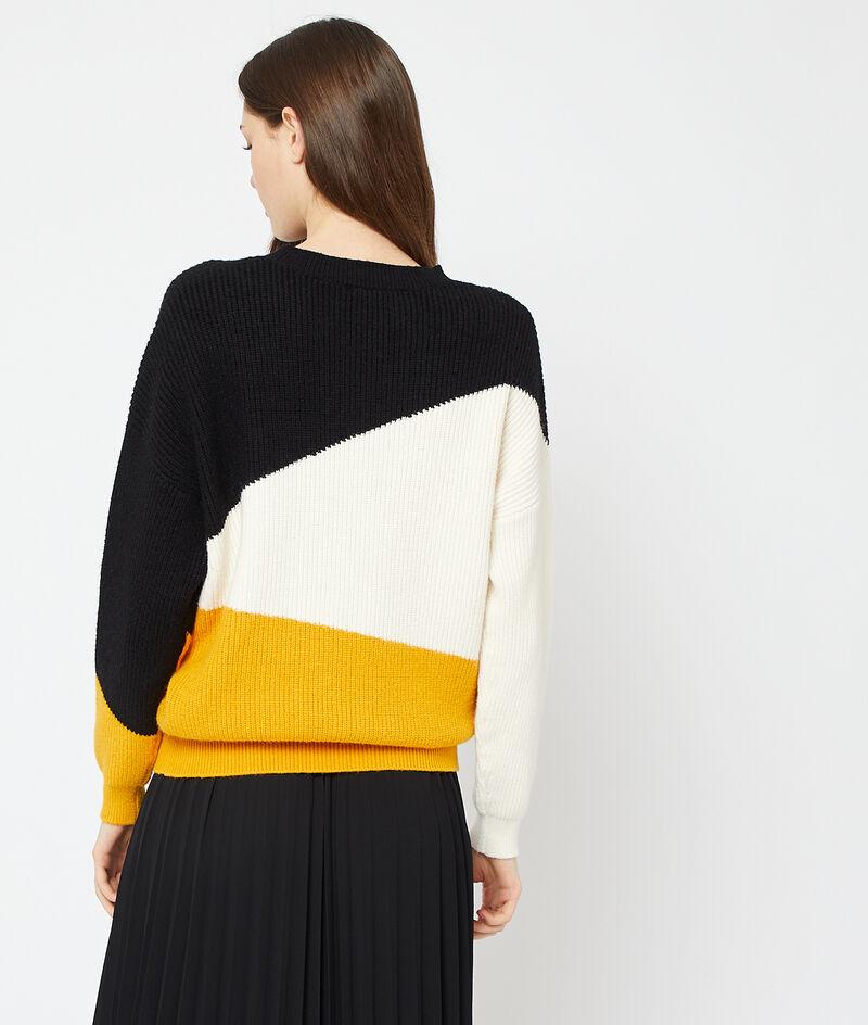 Suéter estampado geométrico de punto grueso