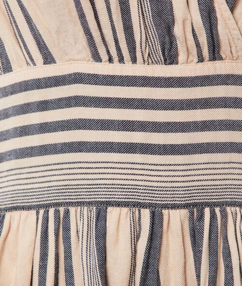 Vestido escote cruzado estampado de rayas
