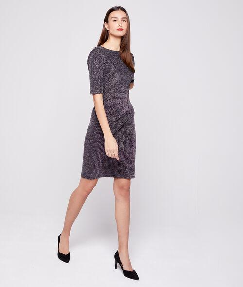 Vestido escote en la espalda fibras metalizadas
