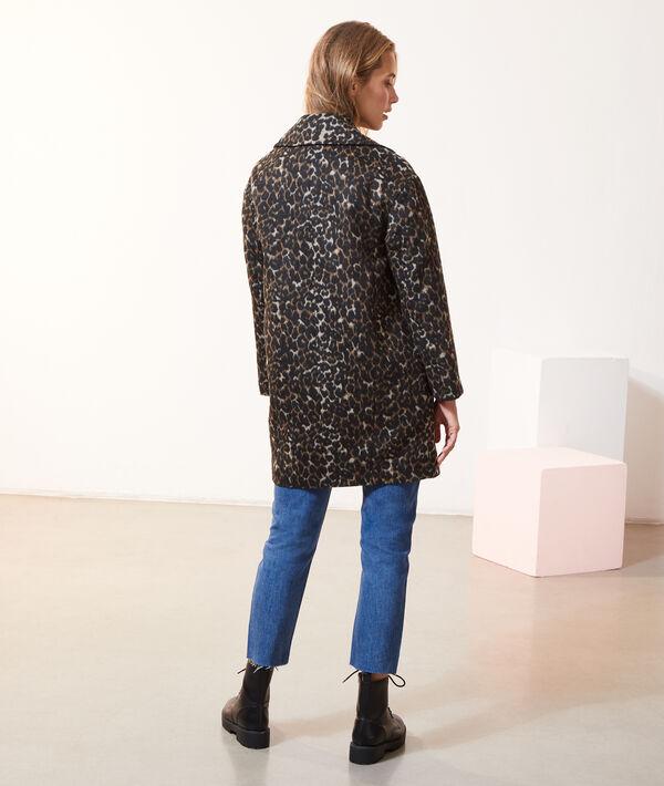 Abrigo recto estampado leopardo