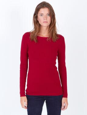 Jersey de punto cuello barco rojo carmín.