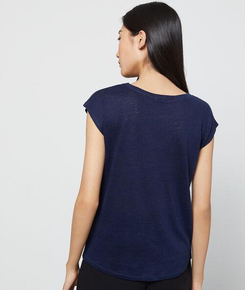 Camiseta cuello en V 100% lino