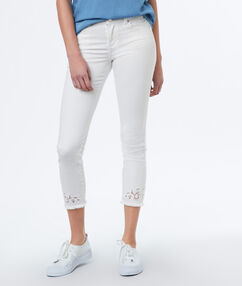 Pantalon slim 7/8 écru.
