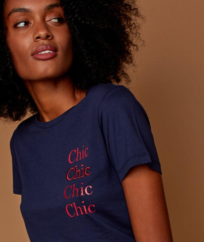 Camiseta mensaje chic bleu marine.