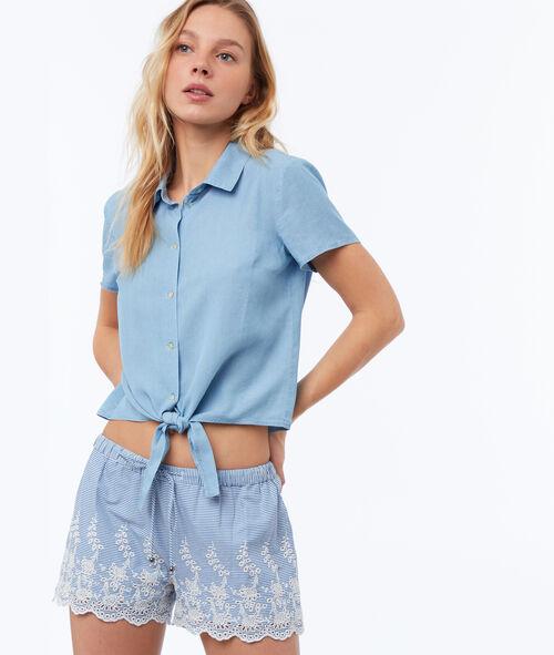 Pantalón corto algodón bordados guipur